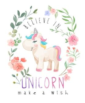 Cartoon unicorn in wild flower illustration