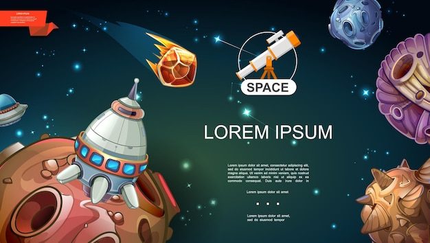 Modello di universo del fumetto con astronave ufo di meteore di pianeti di fantasia asteroidi su sfondo di stelle dello spazio