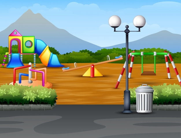 Cartoon urban park kids playground in the nature background