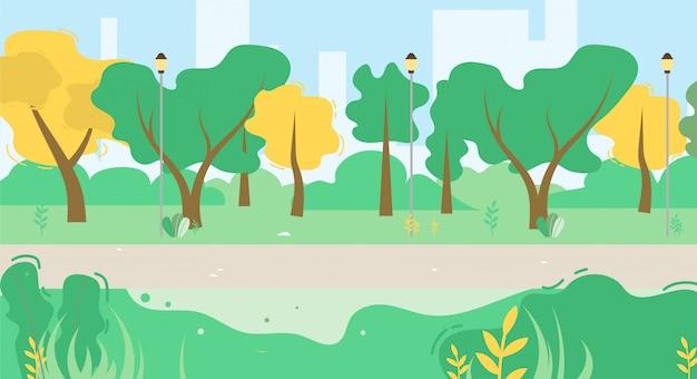 Cartoon urban public green park vegetation and walk side