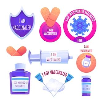 Collezione di badge campagna di vaccinazione dei cartoni animati