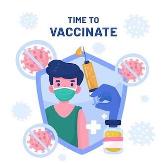 Иллюстрация кампании вакцинации шаржа