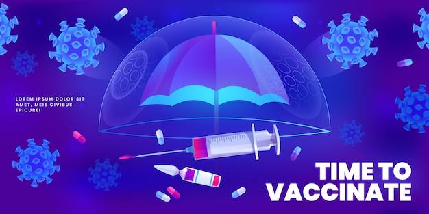 Cartoon vaccination campaign illustration