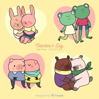 Cartoon valentine animal couple pack