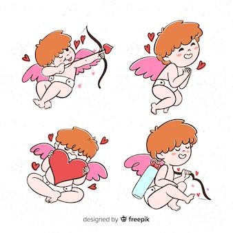 Collezione di san valentino cupido dei cartoni animati