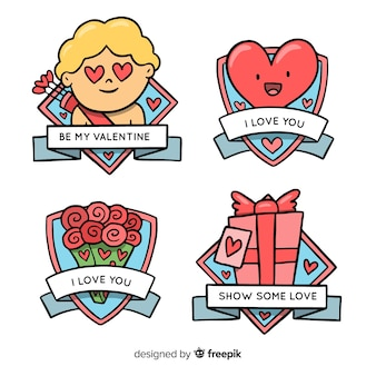 Cartoon valentine label collection
