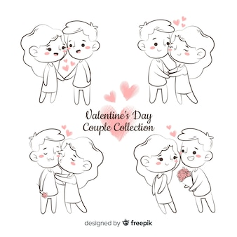 Cartoon valentine's day couple pack