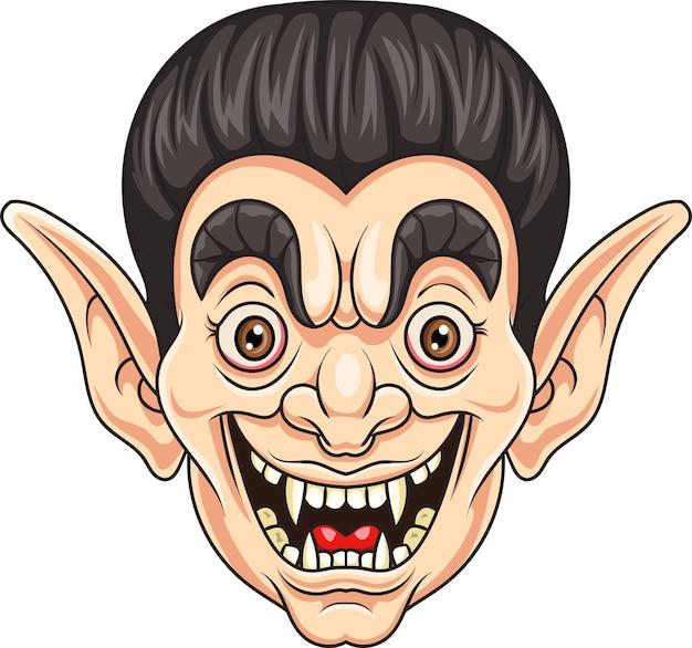 흰색 배경에 고립 된 만화 뱀파이어 머리
