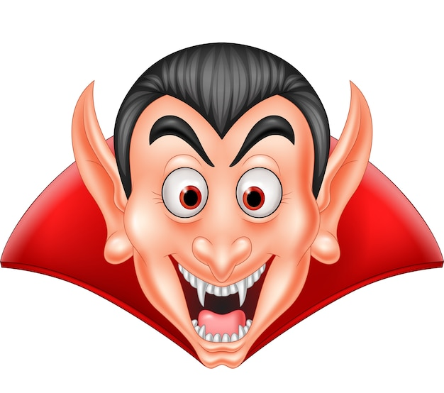 Cartoon vampire head isolated on white background