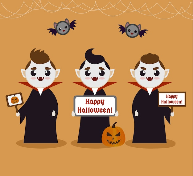 Cartoon vampires halloween ad template