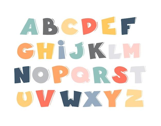 아이들을 위한 만화 벡터 알파벳입니다. 낙서 그래픽 글꼴입니다. 타이포그래피 포스터, 카드, 브로셔, 페이지, 배너 디자인을 위한 손으로 그린 예술. 알파벳.