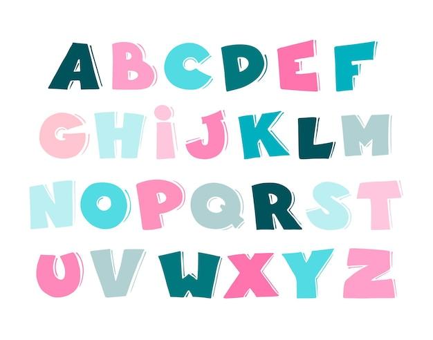 Мультяшный векторный алфавит для детей.
