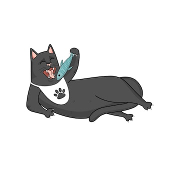 만화 벡터 검은 고양이는 물고기, 폭식을 먹습니다.