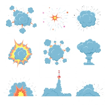 Cartoon vector bomb explosion with smoke.