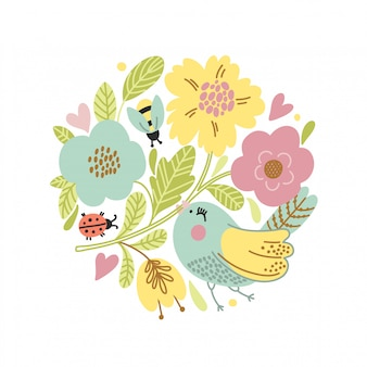 Cartoon vector card with cute bird