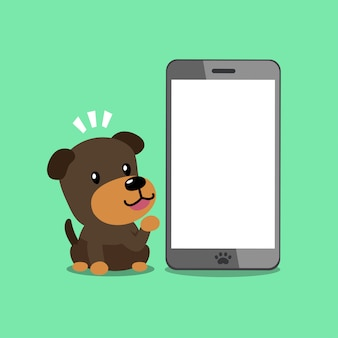 Cartoon vector character brown dog with smartphone