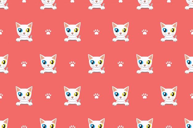 漫画ベクトル文字かわいい猫のシームレスパターン