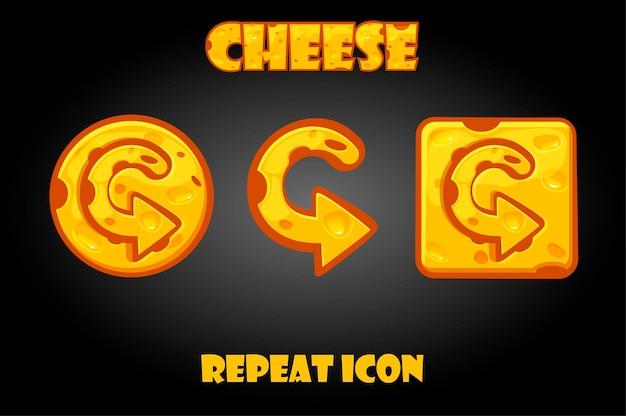 게임 만화 벡터 치즈 반복 버튼. 인터페이스에 고립 된 화살표 아이콘입니다.