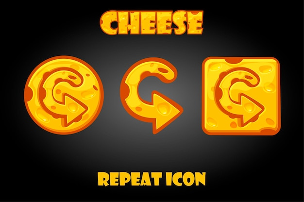 Cartoon vector cheese repeat buttons for game. isolated arrow icons on the interface.