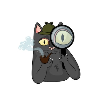 Cartoon vector detective black cat with magnifying glass and pipe for tobacco