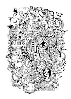Cartoon vector doodles hand drawn town