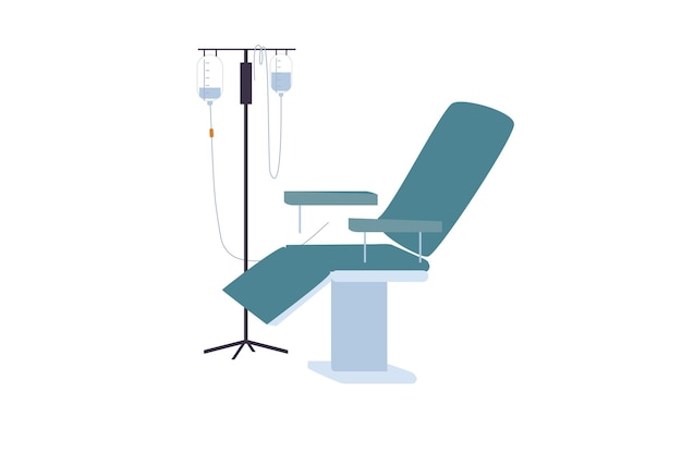 Cartoon vector flat medical drop counter and chair isolated on empty background-disease prevention,diagnostics,medical treatment and therapy concept,web site banner ad design