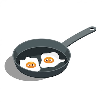 Cartoon vector fried egg with a face in a frying pan.
