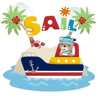 Cartoon vector of funny sailor with boat in little island