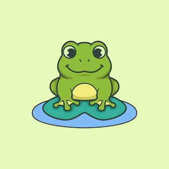 Cartoon vector of green cute smiling frog