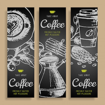 Cartoon vector hand drawn doodles coffee corporate identity.