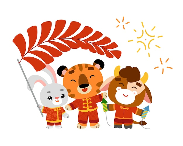 Cartoon vector illustration for children, chinese new year. tiger, ox, rabbit with decorations