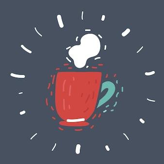 Cartoon vector illustration of coffee mug icon isolated on dark background.