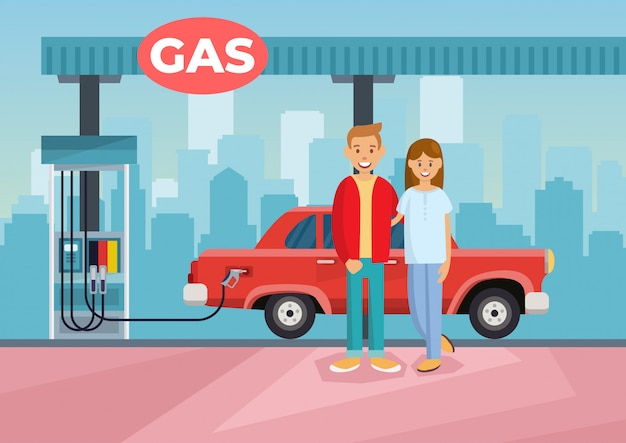 Cartoon vector illustration couple refilling car