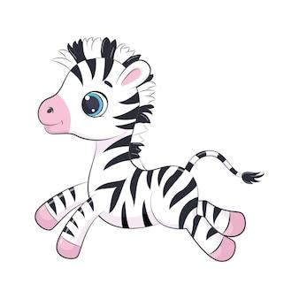 Cartoon vector illustration of cute baby zebra.