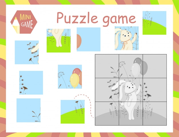 Cartoon vector illustration of education jigsaw puzzle game for preschool children