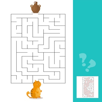Cartoon vector illustration of education maze or labyrinth game for preschool children with cat and milk