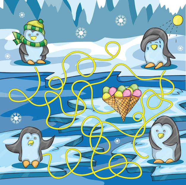 Cartoon vector illustration of education maze with funny penguin and ice cream