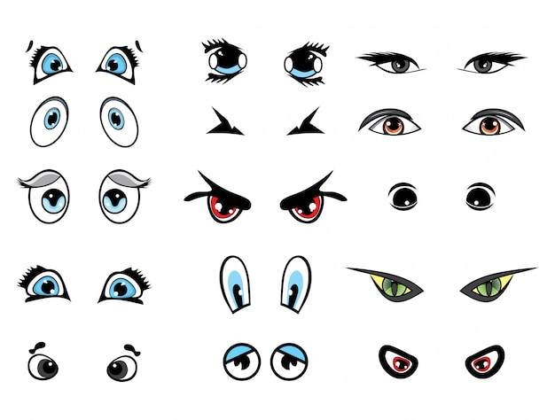 Cartoon vector illustration eyes collection