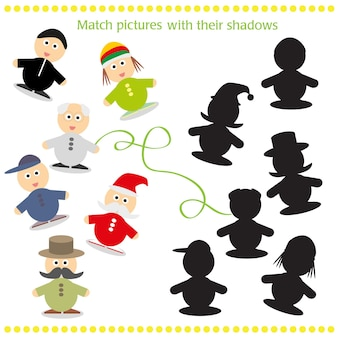 Cartoon vector illustration of find the shadow educational activity game for preschool children