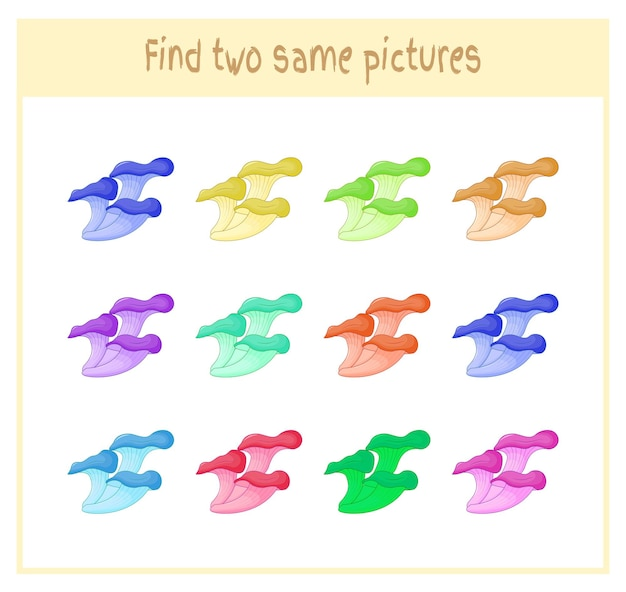 Cartoon vector illustration of finding two exactly the same pictures educational activity for preschool children with mushrooms.