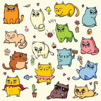 플랫 스타일로 설정된 귀여운 고양이 또는 새끼 고양이 애완 동물의 만화 벡터 일러스트 레이 션