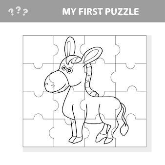 面白いロバ農場の動物と就学前の子供のための教育ジグソーパズルゲームの漫画のベクトルイラスト-私の最初のパズルと塗り絵