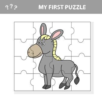 Мультяшный векторная иллюстрация образовательной головоломки для детей дошкольного возраста с забавным животным с фермы осла - моя первая головоломка