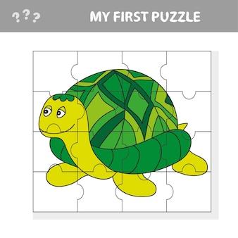 재미 거북이 동물과 취학 전 어린이를위한 교육 지그 소 퍼즐 게임의 만화 벡터 일러스트 레이 션