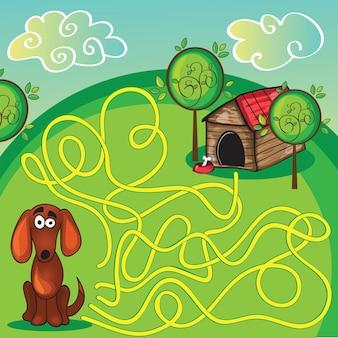Мультяшный векторная иллюстрация образовательного лабиринта или лабиринта для детей дошкольного возраста с забавной собакой и собачьей будкой