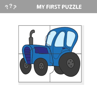 재미있는 트랙터 기계 캐릭터와 취학 전 어린이를위한 교육 퍼즐 게임의 만화 벡터 일러스트 레이 션 - 내 첫 번째 퍼즐