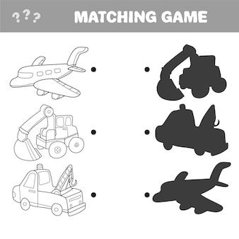 教育の漫画のベクトルイラスト。就学前の子供のためのシャドウマッチングゲーム。自動車および自動車のアイテム