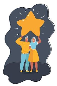 男性と女性の漫画のベクトルイラストは、上の大きな星を保持します。暗い背景。+