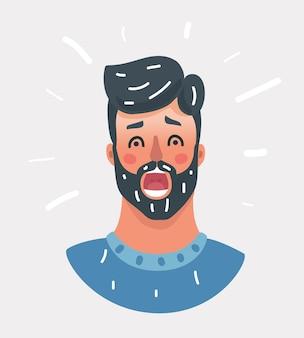 驚いた男の顔の肖像画の漫画のベクトルイラスト。+