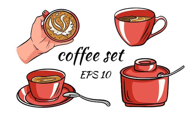 Векторные иллюстрации шаржа чашки кофе подходит для меню, этикетки, коллекции и активов.